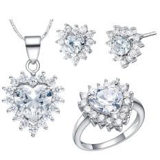 18 Karat Putih Berlapis Emas Perhiasan Kristal Hati Kalung Cincin Anting-Anting Set Wanita Jelas (International)
