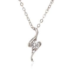 18 K Berlapis Emas Putih Bentuk Sederhana dengan Zircon Fashion Pendant Necklace