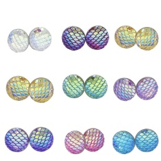 Beli 1 Pair Fashion Rhinestone Mermaid Resin Round Tembaga Ear Stud Earrings Perhiasan Intl Cicilan
