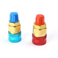 1 Pasang Freon R134A Otomatis Mobil AC Pendingin Kuningan Coupler Cepat Konektor Adaptor Fluoridation Alat Keterangan: fluorida Alat R134a