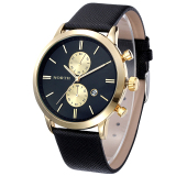 1Pc Fashion Men Casual Waterproof Date Leather Military Japan Watch Gift Black Terbaru