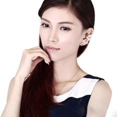 1 PC Fashion Womens Butterfly Wing Ear Clip Clamp Berlian Imitasi Anting untuk Telinga Kiri Putih