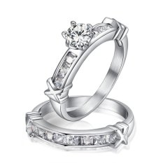 1 PC (TIDAK 1 Pair) Top Berlian Imitasi Berkualitas Diamond Beberapa Stainless Steel Kawin Cincin Pertunangan (Hitam untuk Pria Emas untuk Wanita) -Intl