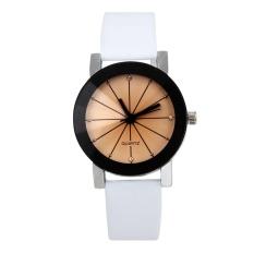 1 PC Wanita Hot-Sale QUARTZ Dial Clock Kulit Wrist Watch Bulat Case Putih-Intl