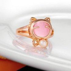 1 Buah Cantik Wanita Gadis Kucing Lucky Number Nada Emas Perhiasan Cincin Batu Permata Mata Kucing Berwarna Merah Muda HPX
