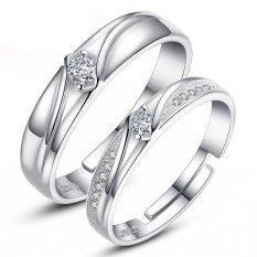 2 Adjustable Baru Cincin Pasangan Jewellry 925 Perak Pecinta Cincin E018-Intl