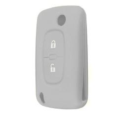 2 Tombol Kunci Silikon Pemegang Kasus Fob Cover Untuk Peugeot 206 207 307 308 Grey