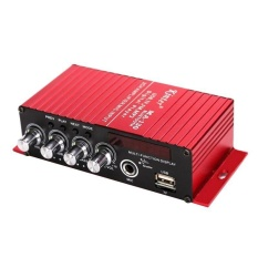 2 Saluran Amplifier FM Audio Power Amplifier Bass Yang Kuat Subwoofer Merah-Intl