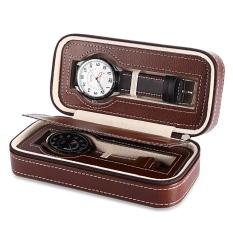Beli 2 Grids Pu Leather Travel Watch Storage Case Zipper Wristwatch Box Organizer Intl Pake Kartu Kredit
