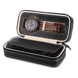 Toko 2 Grids Pu Leather Jam Tangan Perjalanan Tempat Penyimpanan Zipper Arloji Kotak Organizer Intl Lengkap