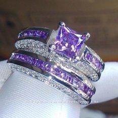 2 IN 1 Fashion Perhiasan TOPAZ/ZIRCON 18KT Emas Disepuh Wedding Ring Hadiah U.S. Ukuran 5 untuk 10 # GR79828-Intl