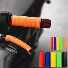 2 Pasang Sepeda Motor Sepeda Stang Pegangan + Rem Clutch Tuas Lembut Penutup Karet Oranye-Internasional By Autoleader.