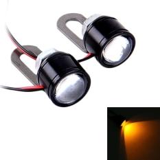 2 Buah 12 V 3 Watt Kuning Lampu LED Lampu Sorot Mata Elang untuk Sepeda Motor, Kawat Panjang: 90 Cm