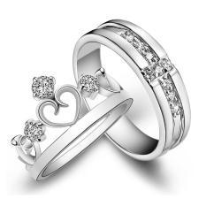 2 Pcs Disesuaikan Cincin Pasangan Cincin Jewellry 925 Perak Adjustable Pecinta Cincin E002-Intl