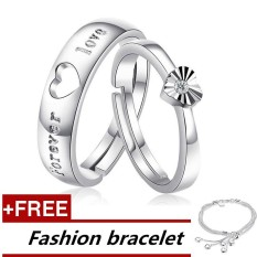 2 Pcs Adjustable Rings Couple Rings Jewellry 925 Silver Adjustable Lovers Rings + Free Fashion Bracelet [ Buy 1 Get 1 Free] - intl