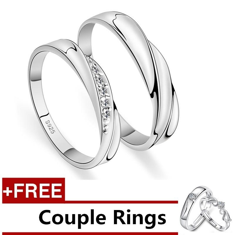 2 Pcs Disesuaikan Cincin Pasangan Cincin Jewellry 925 Perak Adjustable Pecinta Cincin E004 + Free Couple