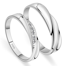 2 PCS Adjustable Rings Couple Rings Jewellry 925 Silver Adjustable Lovers Rings E004 - intl