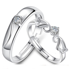 2 Pcs Disesuaikan Cincin Pasangan Cincin Jewellry 925 Perak Adjustable Pecinta Cincin E005-Intl