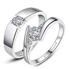 2 Pcs Disesuaikan Cincin Pasangan Cincin Jewellry 925 Perak Adjustable Pecinta Cincin E007-Intl