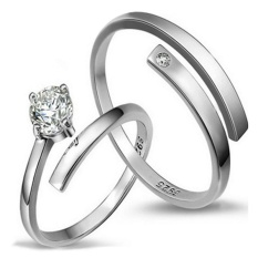 2 Pcs Disesuaikan Cincin Pasangan Cincin Jewellry 925 Perak Adjustable Pecinta Cincin E012-Intl