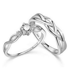2 Pcs Disesuaikan Cincin Pasangan Cincin Jewellry 925 Perak Adjustable Pecinta Cincin E028-Intl