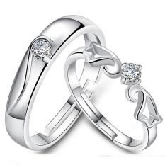 2 Pcs Disesuaikan Cincin Pasangan Cincin Jewellry 925 Perak Pecinta Cincin E005-Intl