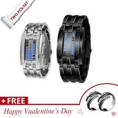 2/Pcs Binary Matrix LED Digital Waterproof Couple Watch Classic Tungsten Steel Fashion Plated Wrist Watches - intl