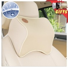 2 PCS Car Leather Neck Pillow Super Soft space Memory Foam Auto Seat Cover Head Neck Rest Cushion Headrest Pillow car styling - intl