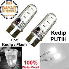 2 Pcs Led Tipe: Flash Kedip Gel / Jelly / Silicone Super Bright Soket T10 Bisa Untuk Senja atau Lampu Stop Vario 125/150 - Putih