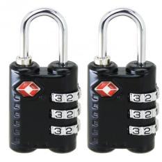2 Pcs Baru Tiba 3 Dial Tsa Disetujui Kunci Keamanan Untuk Koper Perjalanan Koper Tas Hitam Murah