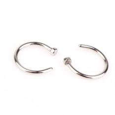 2 Buah Baru Buka Ring Cincin Xuping Steel Hidung Perhiasan Anting-anting Tindik Badan (Silver)