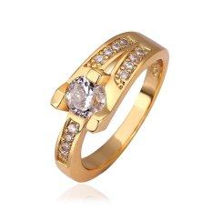 2 Pcs R597 WholesaleHigh QualityNickle Gratis AntiallergicNew Fashion Jewelry 18 K Emas Asli PlatedRing untuk Wanita-Intl