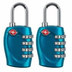 2 Pcs TSA Persetujuan 4-Dial Keamanan Gembok Kombinasi Kode Lockfor Travel Koper Bagasi-