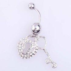 2 Piece Heart Open Key Liontin Cincin Pusar Wanita Crystal Perhiasan (Silver)?