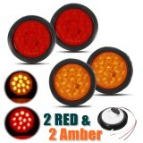 Beli 2 Red 2 Amber 4 12 Led Round Truck Trailer Stop Turn Tail Light Lamp 10 30V Intl Murah