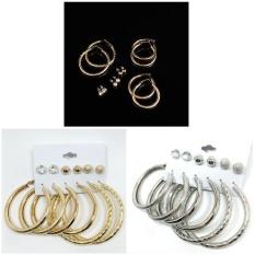 2 Sets (6 Pairs/set) Warna Emas/Perak Hoop Anting-Anting Giwang Telinga-Intl