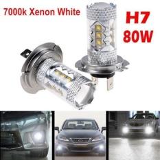 2 X H7 80 W Cree LED Kabut DRL Berkendara Mobil Lampu Utama Lampu Lampu Putih Super Terang-Internasional