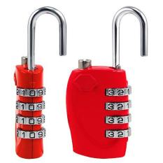 2 X Merah 4 Dial TSA Kombinasi Gembok Resettable Lock Luggage Suitcase Travel