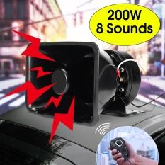200 W 8 Suara Keras Mobil Alarm Peringatan Polisi Bel Sirene Speaker PA MIC System-Intl