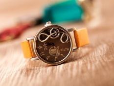 2014 Baru Fashion Wanita QUARTZ Jam Tangan Vintage Musik Note Melody Dial Watch Lady Pergelangan Tangan Watches Leather Band Watch # Lsstore1866 #-Intl