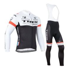 2015 Trek Hitam dan Putih Trek Jersey Lengan Panjang Sling Set Sepeda Kecepatan Pakaian (Warna: lengan Panjang Tali Set/Ukuran: XL)-Intl
