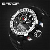 Harga 2016 Terbaik Kualitas Sanda 399 Fashion Outdoor Olahraga Dual Display Tahan Air Elektronik Watch Silver Sanda Asli