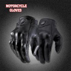 2016 kualitas tinggi pria sarung tangan motor olahraga luar ruangan penuh dengan jari sarung tangan kulit pendek dengan lubang medium (hitam)