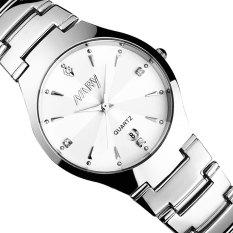 Review Toko 2016 Tinggi Kualitas Baru Kedatangan Nary 6112 Kalender Tunggal Pasangan Quartz Watch Putih Online