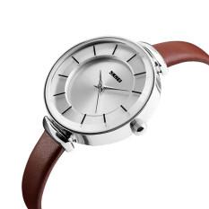 Harga 2016 High Quality Skmei 1184 Women Ultra Thin Simple Casual Wristwatch Silver Shell Brown Asli Skmei