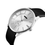 Beli 2016 Tinggi Kualitas Skmei 1168 Pria Fashion Ultra Tipis Bisnis Leather Strap Quartz Watch Silver Shell Hitam Cicil
