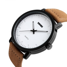 2016 High Quality SKMEI 1196 Casual Men's Watches Leather Waterproof Simple Design Fashion Quartz Watch (brown)