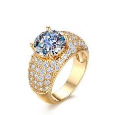 2016 Baru Kedatangan Ring Tembaga Emas Plated Cincin untuk Wanita Cincin Kawin CZ Berlian Perhiasan-Intl
