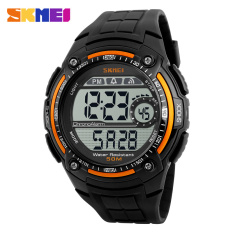 Diskon 2016 Skmei Fashion Olahraga Merek Pria Digital Militer Watch Multifungsi Waterproof Outdoor Led Casual Watches Pria Orange Branded