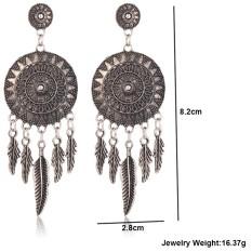 2017 Berongga Penangkap Mimpi Keluar Vintage Daun Bulu Menjuntai Anting-anting untuk Wanita, China Bohemia Gaya Anting-anting India Perhiasan-Intl
